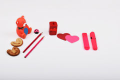 Layout objects isolated on the topic - Valentine`s Day Royalty Free Stock Images