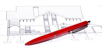 Layout and pen. House plan / layout and pen Royalty Free Stock Photo