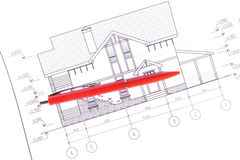 Layout and pen. House plan / layout and pen Stock Photography