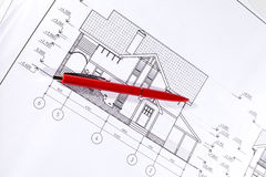 Layout and pen Stock Photo