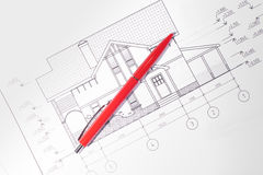Layout and pen. House plan / layout and pen Stock Photo