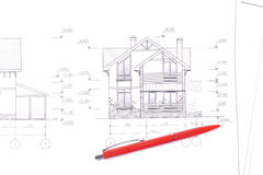 Layout and pen. House plan / layout and pen Royalty Free Stock Photos