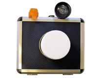 Layout of photo camera. Model of photo camera isolated on white background Royalty Free Stock Photo