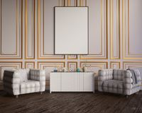 Layout poster with chair and hippest fabric minimalism interior background 3D illustration stock images