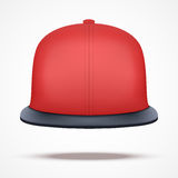 Layout of red rap cap. Front view.. A template simple example. Editable Vector Illustration isolated on white background Stock Images