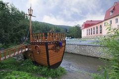 Layout of the ship on river Belokuriha Royalty Free Stock Images