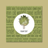 Layout template design with the artichoke symbol. Royalty Free Stock Photography