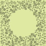 Layout template design with the branches, bushes, leaves,. Layout template design with the round decorative frame can be use for greeting and invitation card Royalty Free Stock Image