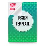 Layout template in A4 size, business brochure, flyer design. Paper poster with creative idea and curved corner on white background. Green sheet of paper with vector illustration