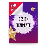 Layout template in A4 size, business brochure, flyer design, Paper poster with gold stars and glittering shine on. Backdrop, isolated on white background, 3D royalty free illustration