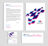 Layout template size A4 cover, page business card and letter -blue and pink Abstract 3D Vector set design stock illustration