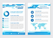 Layout template size A4 Front page and back page abstract Innovative Blue tone Vector design stock illustration