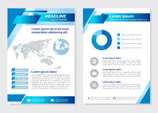 Layout template size A4 Front page and back page  Blue square oblique Vector  design Stock Images