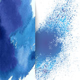 Layout for text with an abstract blue watercolor pattern Stock Photo