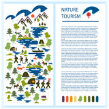 Layout of tourist booklet or advertisement. Images of tourists, forest, mountains, lake, fishing, wild animals. Ecological tourism Royalty Free Stock Photography