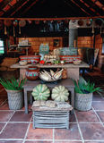 The layout of the traditional Mexican kitchen. The layout of the traditional Mexican cuisine with cooking utensils, dishes, fruits and vegetables stock photos