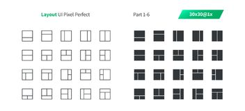 Layout UI Pixel Perfect Well-crafted Vector Thin Line And Solid Icons 30 1x Grid for Web Graphics and Apps. Simple Minimal Pictogram Part 1-6 Royalty Free Stock Photos