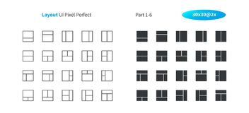 Layout UI Pixel Perfect Well-crafted Vector Thin Line And Solid Icons 30 2x Grid for Web Graphics and Apps. Simple Minimal Pictogram Part 1-6 Stock Photos