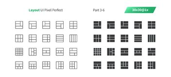 Layout UI Pixel Perfect Well-crafted Vector Thin Line And Solid Icons 30 1x Grid for Web Graphics and Apps. Simple Minimal Pictogram Part 3-6 Royalty Free Stock Images