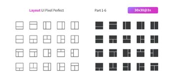 Layout UI Pixel Perfect Well-crafted Vector Thin Line And Solid Icons 30 3x Grid for Web Graphics and Apps. Simple Minimal Pictogram Part 1-6 Stock Photography
