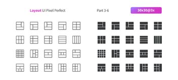 Layout UI Pixel Perfect Well-crafted Vector Thin Line And Solid Icons 30 3x Grid for Web Graphics and Apps. Simple Minimal Pictogram Part 3-6 Royalty Free Stock Photography