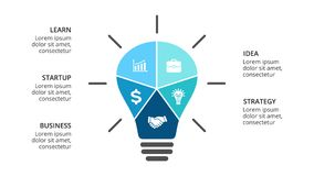 Vector light bulb infographic. Template for diagram, graph, presentation and layers chart. Business startup idea lamp Royalty Free Stock Photo