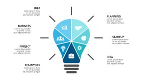 Vector light bulb infographic. Template for diagram, graph, presentation and layers chart. Business startup idea lamp Stock Photography