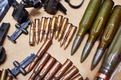 Layouts ammo rifles and machine guns of World War II. Layouts ammo from rifles and machine guns of the Second World War Stock Photos