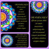Layouts with color mandala,beautiful color pattern. Vector illustration Stock Photos