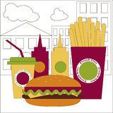 Layouts leaflets about poor diet. Fast food. Royalty Free Stock Photography