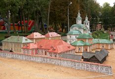 Layouts  miniature  historic buildings in  park, Smolensk, Russia Stock Image
