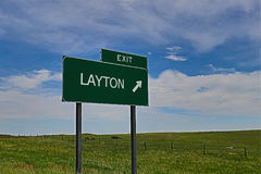 Layton. US Highway Exit Sign for Layton HDR Image royalty free stock image
