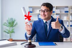 The laywer with diploma roll in legal profession eductional concept royalty free stock photo