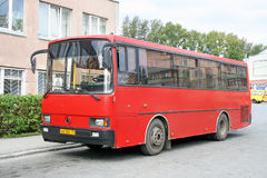 LAZ A1414 Liner. ZLATOUST, RUSSIA - AUGUST 23, 2008: Red LAZ A1414 Liner interurban coach at the bus station Stock Photography