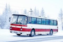 LAZ 699R Turist. Novyy Urengoy, Russia - December 9, 2013: Old interurban coach bus LAZ 699R Turist in the city street Royalty Free Stock Image