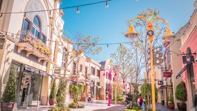 Main shopping street at Las Rozas luxury shopping village near Madrid, Spain royalty free stock photos