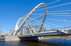Lazarevsky Bridge across Malaya Nevka River, St. Petersburg, Russia. SAINT PETERSBURG, RUSSIA - MAY 2, 2017: Lazarevsky cable-stayed bridge across Malaya Nevka Royalty Free Stock Image