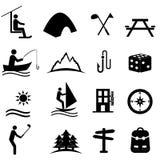 Lazer, esportes e ícones da recreação ilustração royalty free