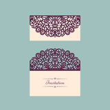 Lazercut vector wedding invitation template. Wedding invitation envelope for laser cutting. Lace gate folds.Lazer cut Royalty Free Stock Photo