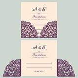 Lazercut-Vektorhochzeits-Einladungsschablone Hochzeitseinladungsumschlag für Laser-Ausschnitt Spitzetorfalten Lazer-Schnitt stock abbildung