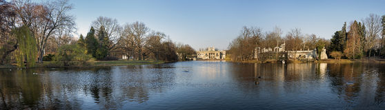 The Lazienki palace in Lazienki Park, Warsaw. Poland during winter time stock photo