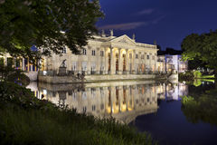 Lazienki palace at night in Warsaw, Poland. Lazienki palace in classic style at night in Warsaw, Poland stock photography