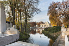 Lazienki Park with Palace on the Water in Warsaw, Poland Royalty Free Stock Photo