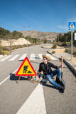 Laziness. Lazy guy on a  road works site, a concept Royalty Free Stock Photography