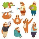 Laziness sloth animal character different human pose lazy cartoon kawaii wild jungle mammal flat design vector Stock Image