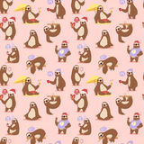 Laziness sloth animal character different pose seamless pattern vector Royalty Free Stock Photos