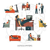 Laziness Symptoms Infographics Royalty Free Stock Image