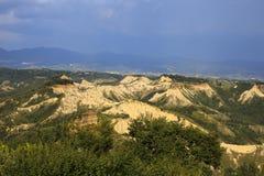 Lazio. Civita di Bagnoregio VT, Italy - May 15, 2016: Soft eroded clay landscape around Civita di Bagnoregio, Tuscia, Lazio, Italy royalty free stock photography