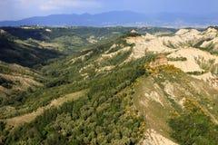 Lazio. Civita di Bagnoregio VT, Italy - May 15, 2016: Soft eroded clay landscape around Civita di Bagnoregio, Tuscia, Lazio, Italy stock image