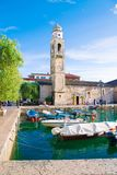 Small, romantic port in Lazise at Lake Garda in Italy royalty free stock images